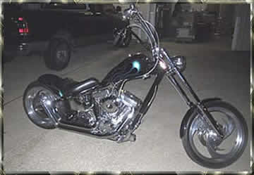 green flamed custom chopper