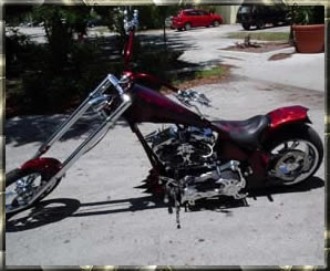 red custom chopper