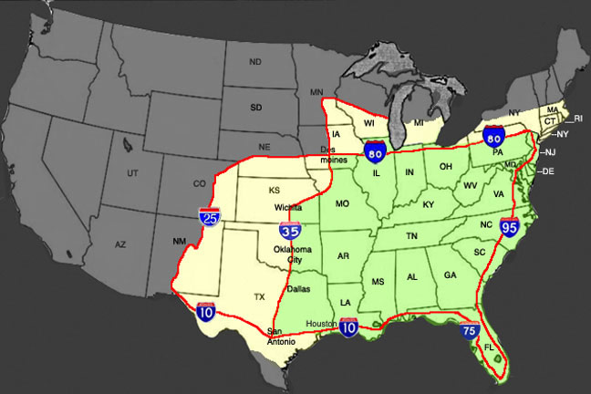 Domestic usa motorcycle shipping map